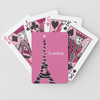 Paris Sparkles Everywhere Poker Cards fuchsia
