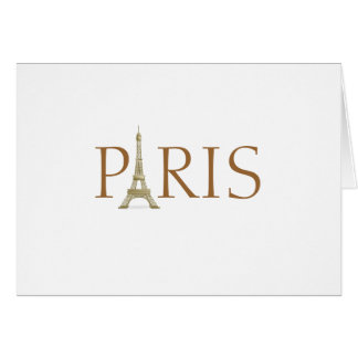 Paris Spelled with Eiffel Tower Alphabet on White Card