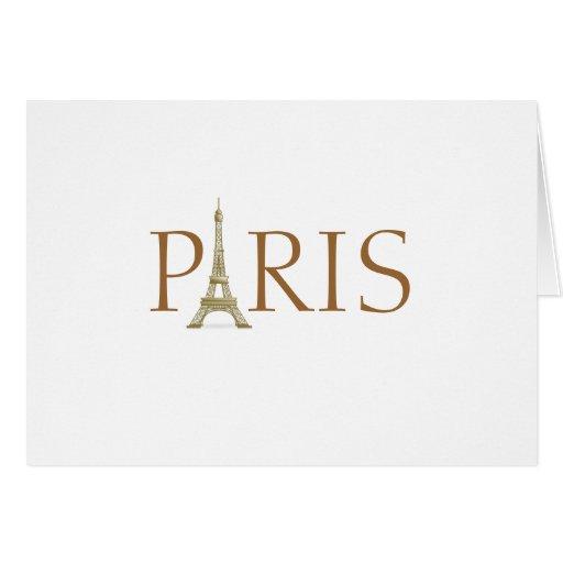 Paris Spelled with Eiffel Tower Alphabet on White Card