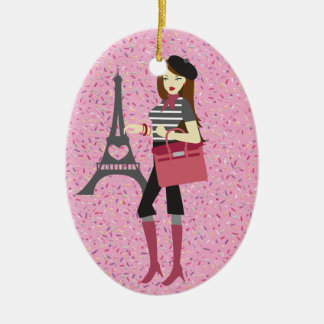 Paris - SRF Double-Sided Oval Ceramic Christmas Ornament