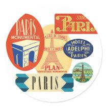 Paris stamp classic round sticker