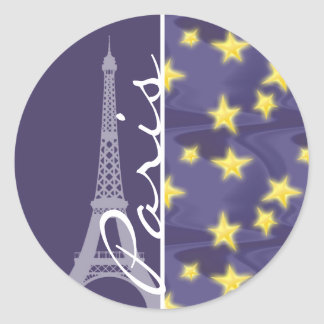 Paris Starry Night; Eiffel Tower Classic Round Sticker