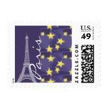 Paris Starry Night; Eiffel Tower Postage Stamp