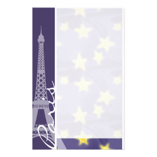Paris Starry Night; Eiffel Tower Personalized Stationery