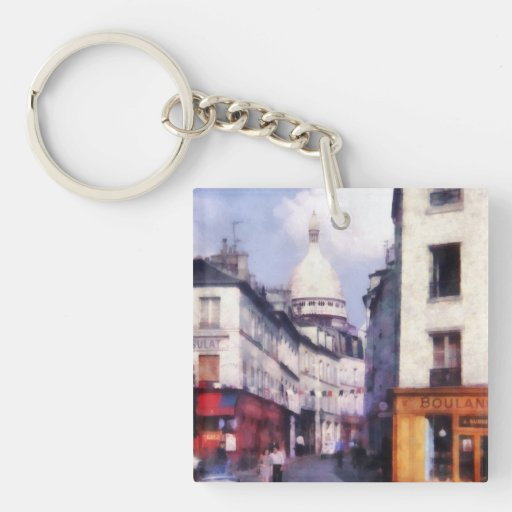 Paris Street Double-Sided Square Acrylic Keychain