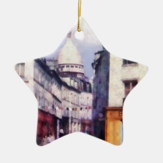 Paris Street Double-Sided Star Ceramic Christmas Ornament
