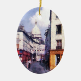 Paris Street Double-Sided Oval Ceramic Christmas Ornament