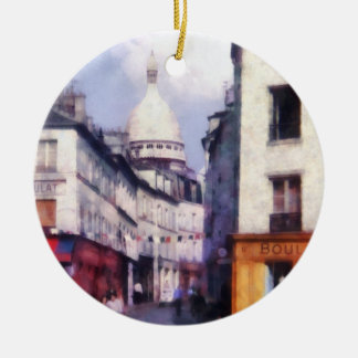 Paris Street Double-Sided Ceramic Round Christmas Ornament