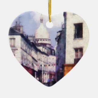 Paris Street Double-Sided Heart Ceramic Christmas Ornament
