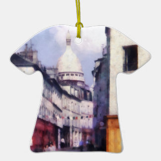 Paris Street Double-Sided T-Shirt Ceramic Christmas Ornament