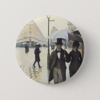 Paris Street, Rainy Day by Caillebotte Button