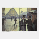Paris Street Rainy Day by Caillebotte, Vintage Art Hand Towels