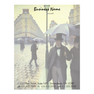 Paris Street Rainy Day by Caillebotte, Vintage Art Letterhead