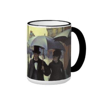 Paris Street Rainy Day by Caillebotte, Vintage Art Ringer Coffee Mug