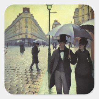 Paris Street Rainy Day by Caillebotte, Vintage Art Square Sticker