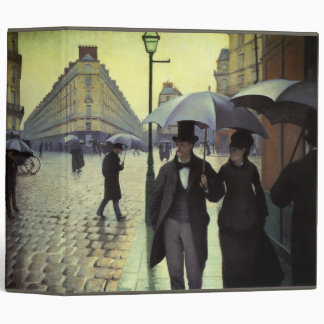 Paris Street Rainy Day by Gustave Caillebotte 3 Ring Binder