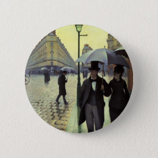 Paris Street Rainy Day by Gustave Caillebotte Button