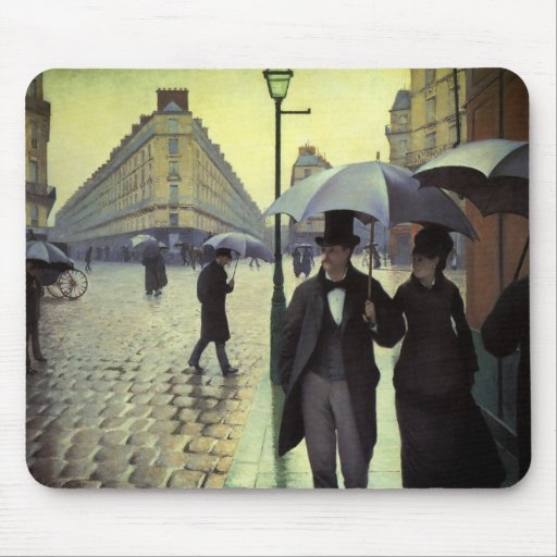 Paris Street, Rainy Day by Gustave Caillebotte Mousepads