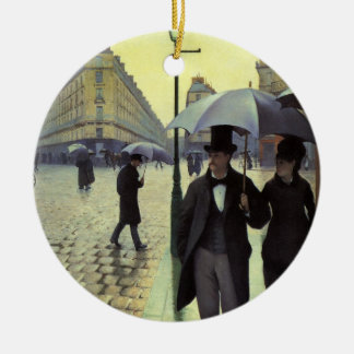 Paris Street, Rainy Day by Gustave Caillebotte Double-Sided Ceramic Round Christmas Ornament