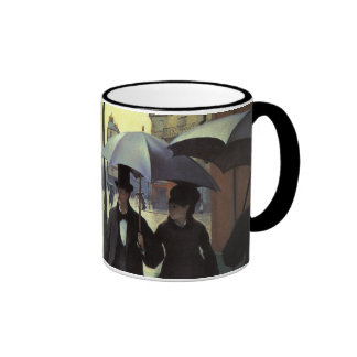 Paris Street Rainy Day by Gustave Caillebotte Ringer Mug