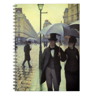 Paris Street Rainy Day by Gustave Caillebotte Spiral Notebook
