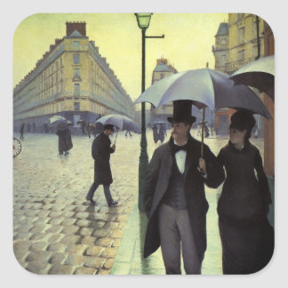 Paris Street Rainy Day by Gustave Caillebotte Square Sticker