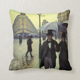 Paris Street Rainy Day by Gustave Caillebotte Throw Pillow