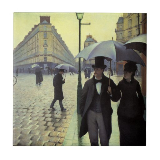 Paris Street Rainy Day by Gustave Caillebotte Tile