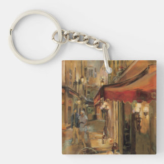 Paris Street Scene Double-Sided Square Acrylic Keychain