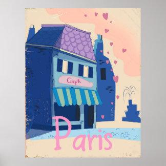 Paris Street vintage cartoon Poster