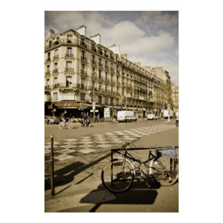 Paris Street with Bicycle Poster