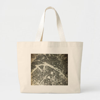 Paris Streets and Buildings Vintage Map Large Tote Bag