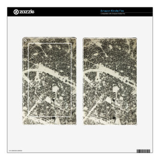 Paris Streets and Buildings Vintage Map Skin For Kindle Fire