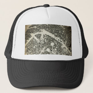 Paris Streets and Buildings Vintage Map Trucker Hat