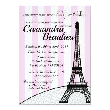Bride Themed Paris Stripes Bridal Shower Invitation