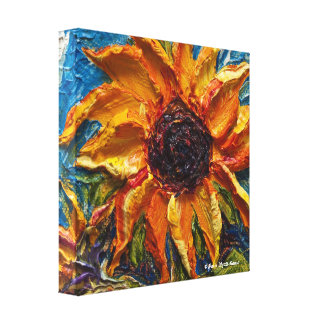 Paris' Sunflower Impasto Oil Painting Canvas Print