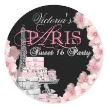 Paris Sweet 16 Birthday Party Classic Round Sticker