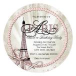 "Paris Sweet 16 Birthday Party 5.25"" Square Invitation Card"