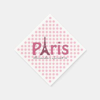 Paris Sweet 16 Custom Birthday Napkins