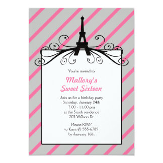 Paris Sweet 16 Party Invitations