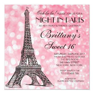 Paris Sweet 16 Pink Glitter Lights Invitation