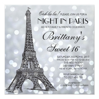 Paris Sweet 16 Silver Glitter Lights Invitation