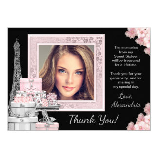 Paris Sweet 16 Thank You Cards