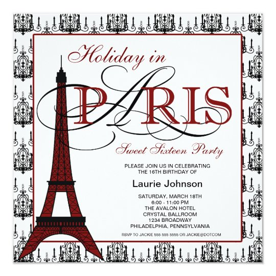 Paris Sweet Sixteen Party Card