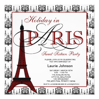Paris Sweet Sixteen Party Personalized Announcements