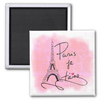 París te amo PXLY rosado Imán Cuadrado