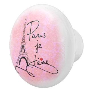 París te amo PXLY rosado Pomo De Cerámica