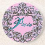 PARIS TEAL and PARISIAN PINK BAROQUE PRINT Beverage Coasters