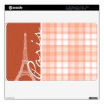 París; Tela escocesa anaranjada linda Calcomanía Para El MacBook Air