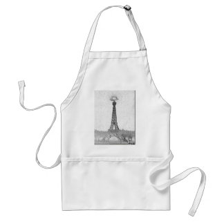 Paris, Texas Eiffel Tower Drawing Adult Apron